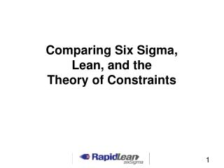 Comparing Six Sigma, Lean, and the  Theory of Constraints