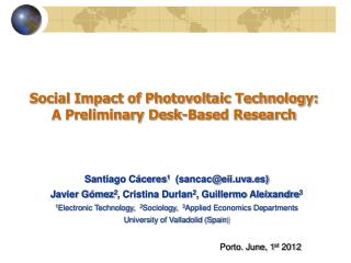 Social Impact of Photovoltaic Technology: A Preliminary Desk-Based Research
