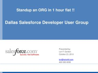 Standup an ORG in 1 hour flat !!