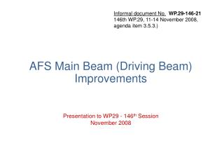 AFS Main Beam (Driving Beam) Improvements