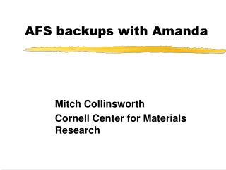 AFS backups with Amanda