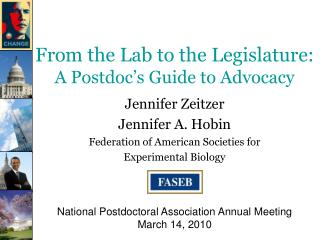From the Lab to the Legislature:  A Postdoc's Guide to Advocacy