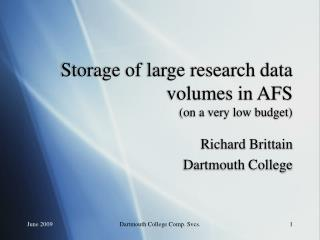 Storage of large research data volumes in AFS (on a very low budget)