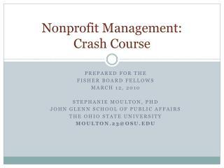Nonprofit Management: Crash Course