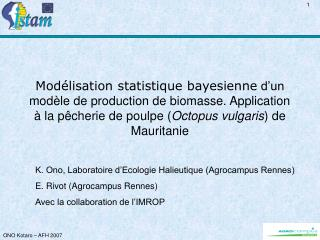 K. Ono, Laboratoire d'Ecologie Halieutique (Agrocampus Rennes) E. Rivot (Agrocampus Rennes)