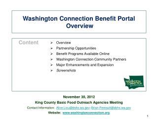 Washington Connection Benefit Portal  Overview
