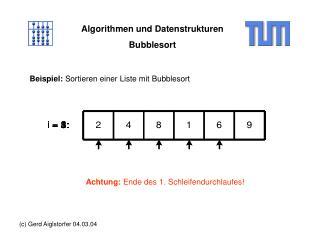 Algorithmen und Datenstrukturen Bubblesort