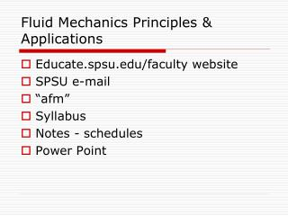 Fluid Mechanics Principles & Applications