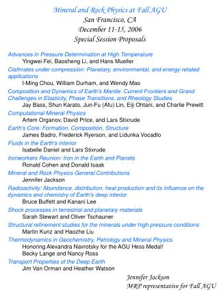 Mineral and Rock Physics at Fall AGU San Francisco, CA  December 11-15, 2006