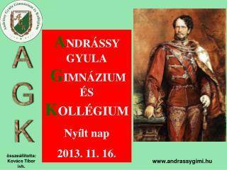 A NDRÁSSY GYULA G IMNÁZIUM  ÉS K OLLÉGIUM Nyílt nap 2013. 11. 16.