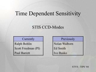 Time Dependent Sensitivity