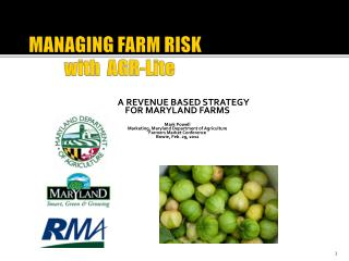 MANAGING FARM RISK  	with  AGR- Lite