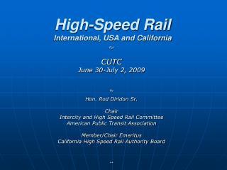 High-Speed Rail International, USA and California