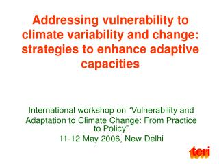 "International workshop on ""Vulnerability and"
