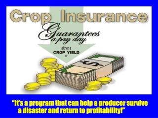 """""""It's a program that can help a producer survive a disaster and return to profitability!"""""""
