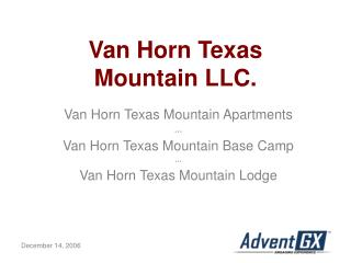 Van Horn Texas  Mountain LLC.