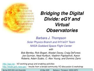 Bridging the Digital Divide: eGY and Virtual Observatories