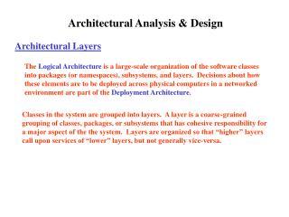 Architectural Analysis  Design