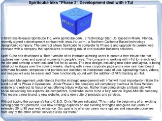 "Spiritcube inks ""Phase 2"" Development deal with i-Tul"
