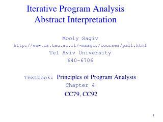 Iterative Program Analysis Abstract Interpretation
