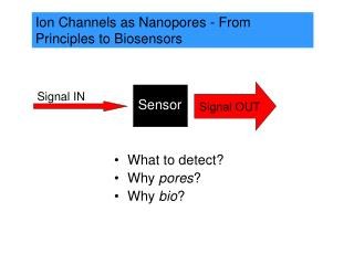 Ion Channels as Nanopores - From Principles to Biosensors