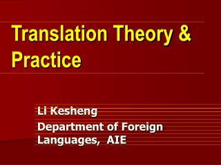 Translation Theory & Practice