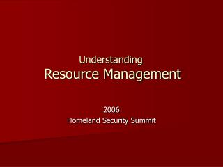 Understanding Resource Management