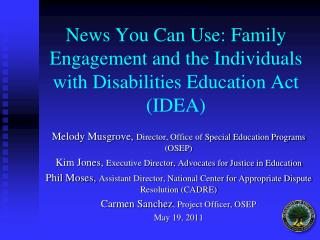 News You Can Use: Family Engagement and the Individuals with Disabilities Education Act (IDEA)