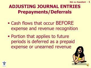 ADJUSTING JOURNAL ENTRIES Prepayments/Deferrals