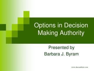 Options in Decision Making Authority