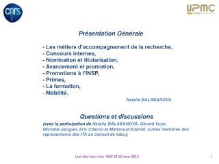 Présentation Générale - Les métiers d'accompagnement de la recherche, - Concours internes,