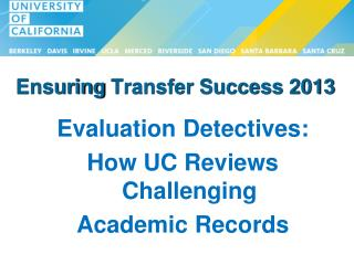 Ensuring  Transfer Success 2013