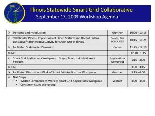 September 17, 2009 Workshop Agenda