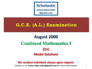 G.C.E. (A.L.) Examination