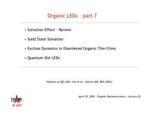 Organic LEDs – part 7
