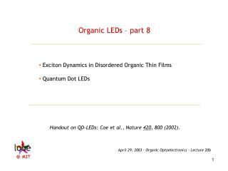 Organic LEDs – part 8