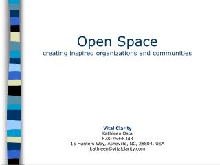 Open Space creating inspired organizations and communities