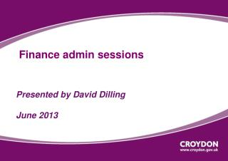 Finance admin sessions