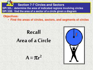 Objectives:   Find the areas of circles, sectors, and segments of circles