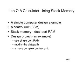 Lab 7: A Calculator Using Stack Memory