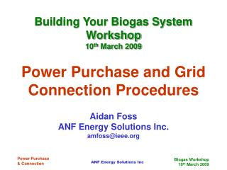 Power Purchase and Grid Connection Procedures