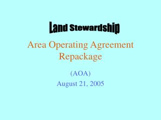 Area Operating Agreement Repackage