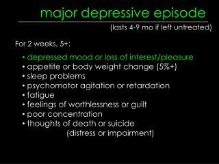 major depressive episode