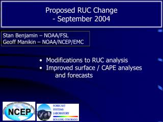 Proposed RUC Change   - September 2004
