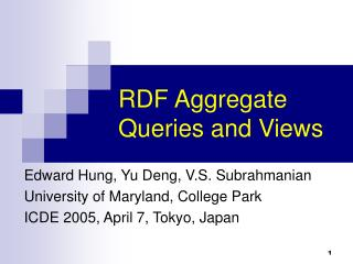 RDF Aggregate Queries and Views