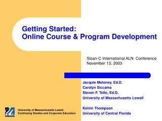 Getting Started:  Online Course & Program Development