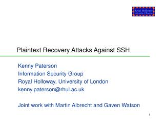 Plaintext Recovery Attacks Against SSH