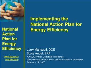 Larry Mansueti, DOE Stacy Angel, EPA NARUC Winter Committee Meetings