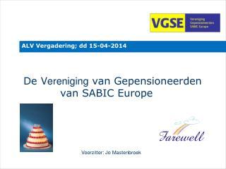 De  Vereniging  van Gepensioneerden                          van SABIC Europe