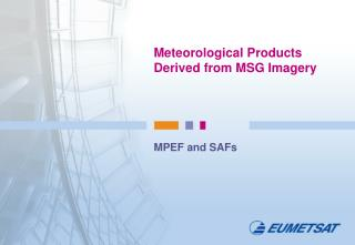 Meteorological Products Derived from MSG Imagery